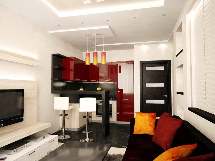 Дизайн кухни-гостиной площадью 12 кв. м.