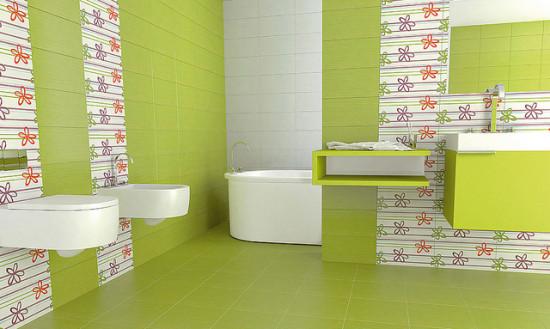 Фисташковый цвет в ванной комнате
