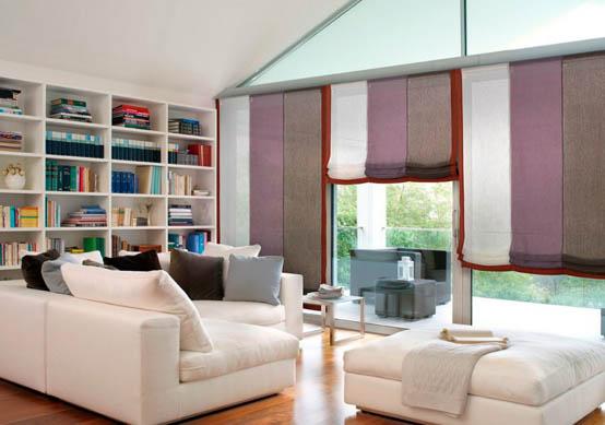 римские шторы в интерьере комнаты