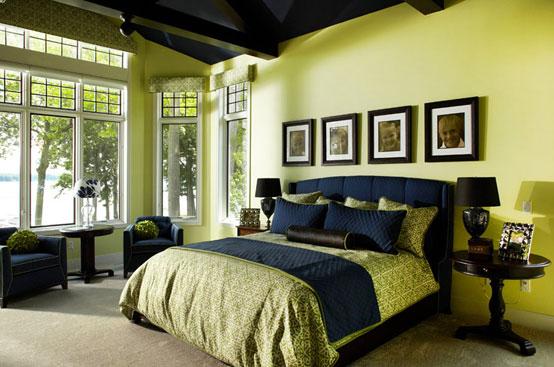 интерьер спальни в фисташковом цвете