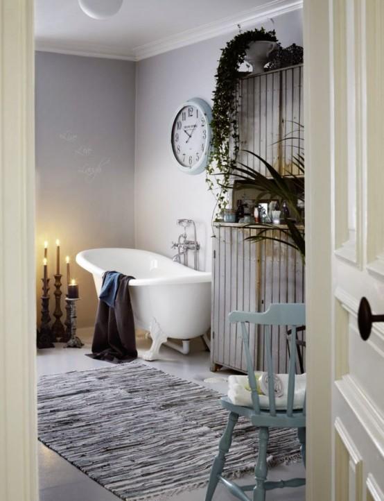 стиль шебби шик в интерьере ванной