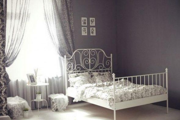 Белая кровать икеа в интерьере