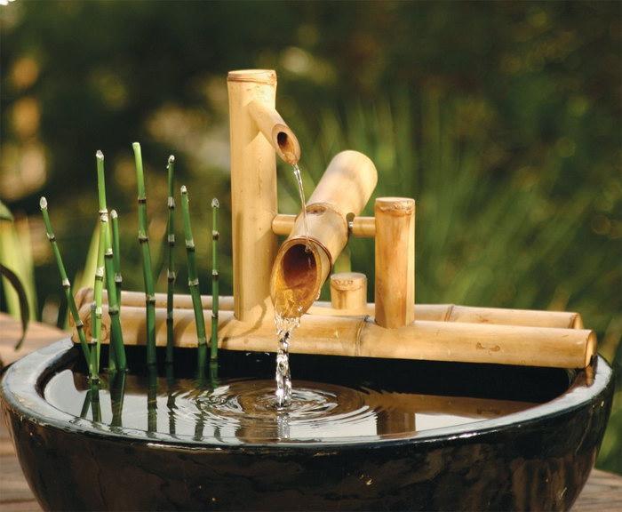 декоративные фонтаны из бамбука