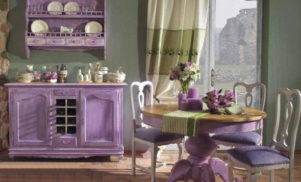 Декупаж мебели в стиле Прованс в фиолетовом цветы