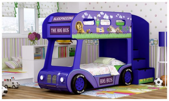 Двухъярусная кровать автобус в синем цвете с обемным бампером