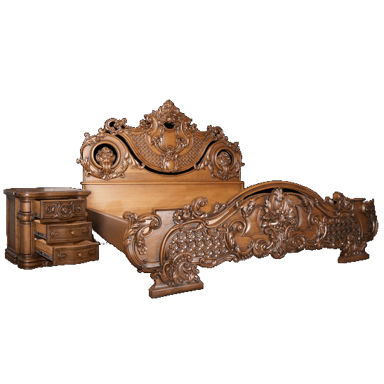Двуспальная классическая кровать из массива дерева
