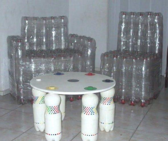 Как сделать кресло из бутылок