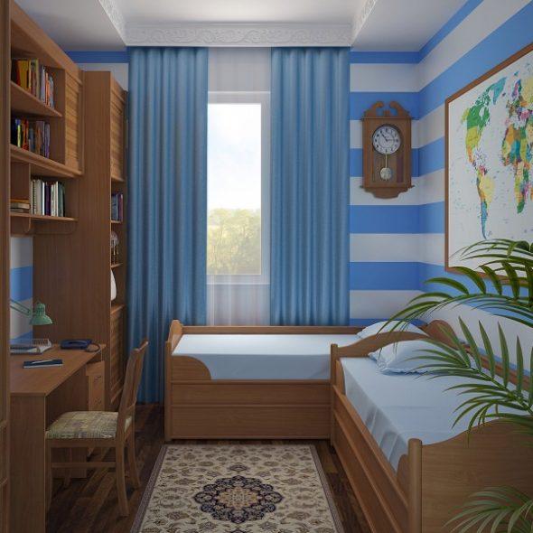 Комната для двух мальчиков с картой на стене