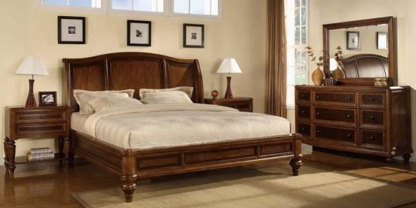 Кровать для спальни из массива дерева фото