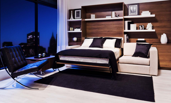 Откидная кровать в стильном интерьере