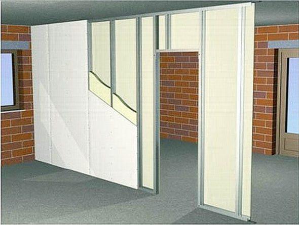 Пример стены с дверным проемом перед зашивкой гипсокартоном