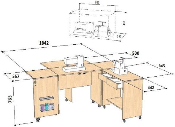 Шема стола для швейной машины с размерами