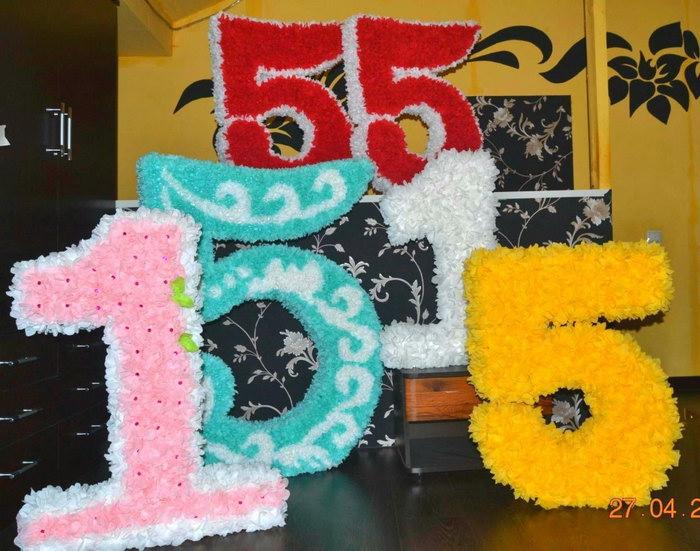 цифры и буквы из салфеток декор