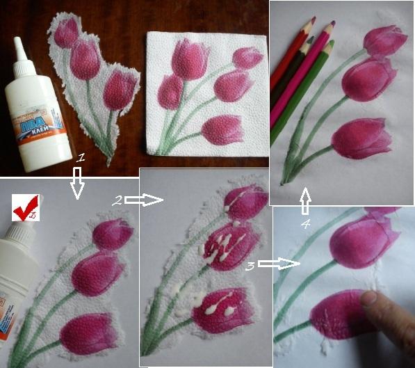 цветы из бумажных салфеток оформление фото