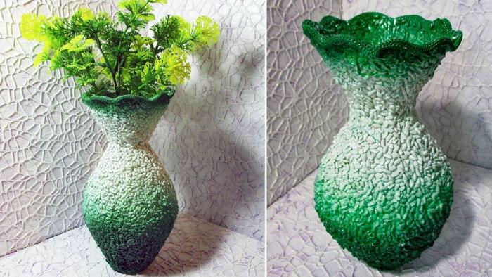 декор вазы из бутылок