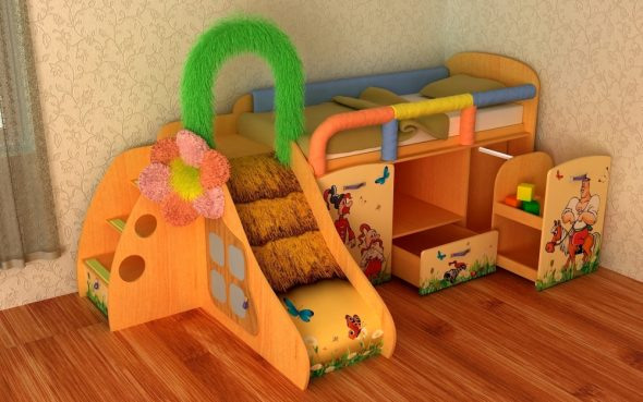 кровать детская с горкой