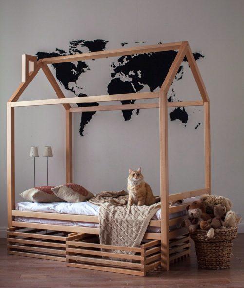 простая кровать домик для детской