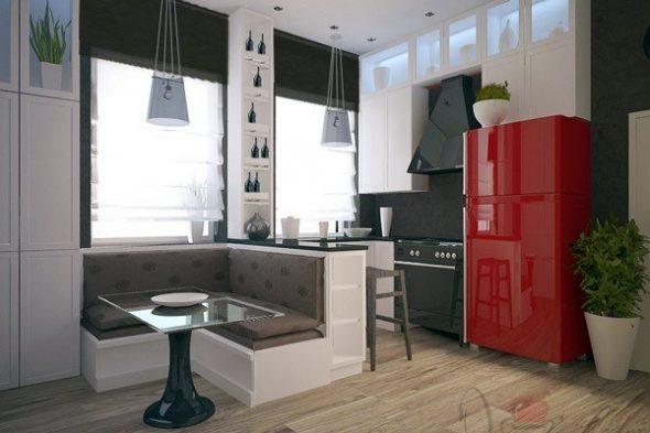 диван и бар на кухне