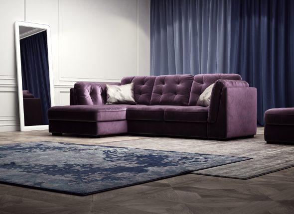 фиолетовый угловой диван