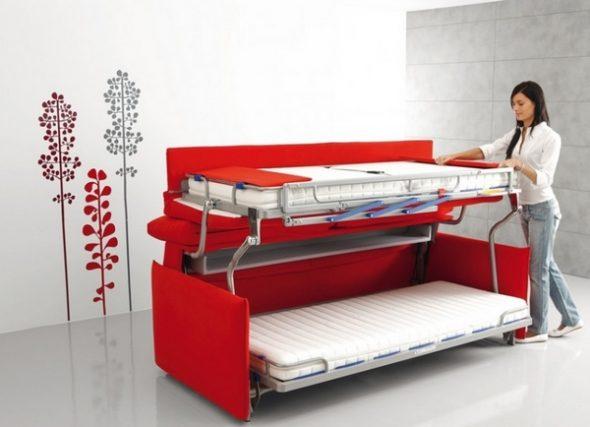 диван кровать трансформер для малогабаритной квартиры красного цвета