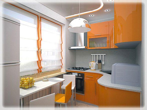Практические советы: располагаем кухонный гарнитур в кухне 6 кв.м.