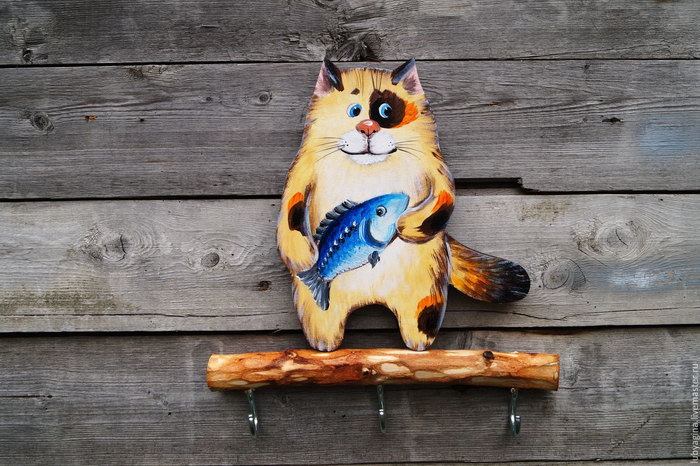 ключница кот с рыбой
