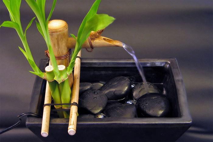 домашний фонтан из бамбука