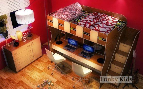 кровать с компьютерным столом в детскую