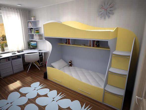двухъярусная кровать лестница ящики