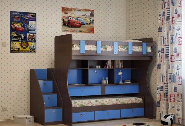 двухъярусная кровать с полками и ящиками