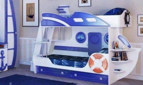 Двухъярусная кровать в морской тематике