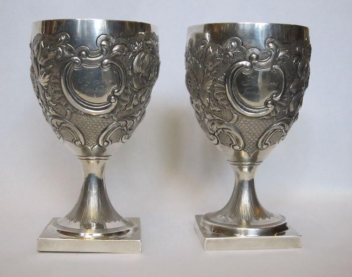 антикварные фужеры из серебра