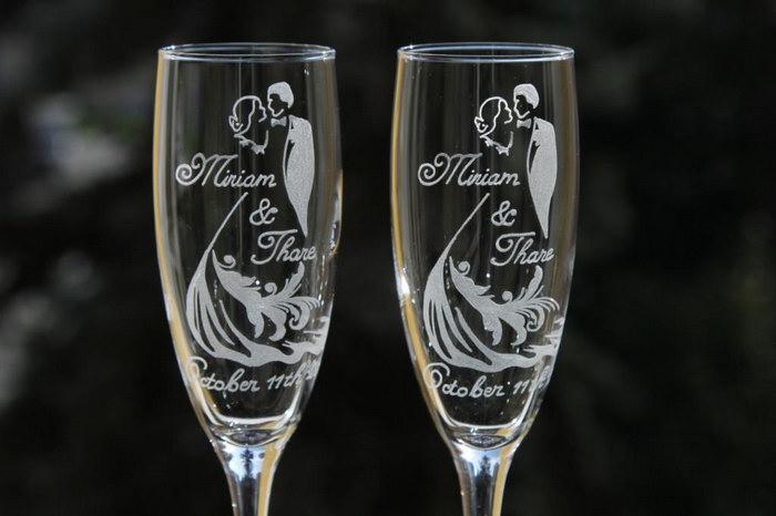 гравировка на бокалах на свадьбу
