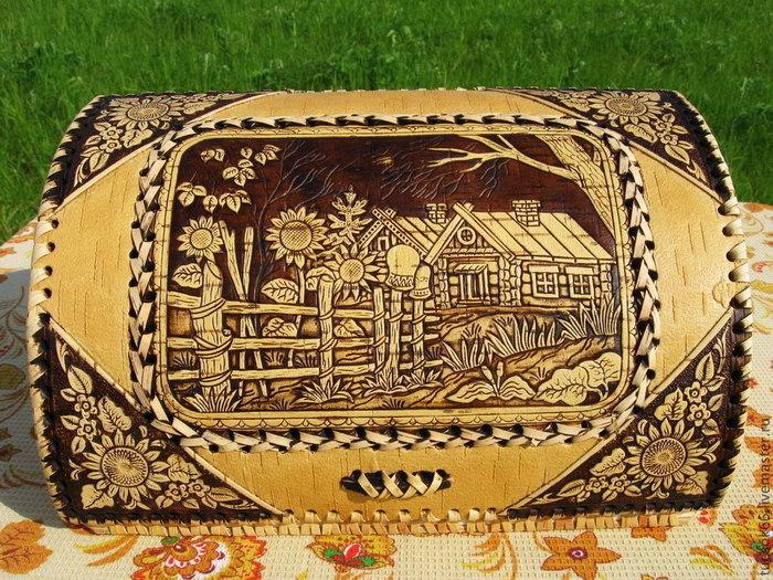 хлебница из бересты деревенька