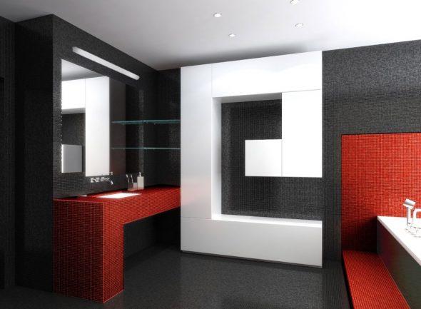 Интерьер ванной комнаты в стиле хай-тек
