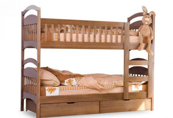 Классическая двухъярусная кровать Арина из натурального дерева ольхи