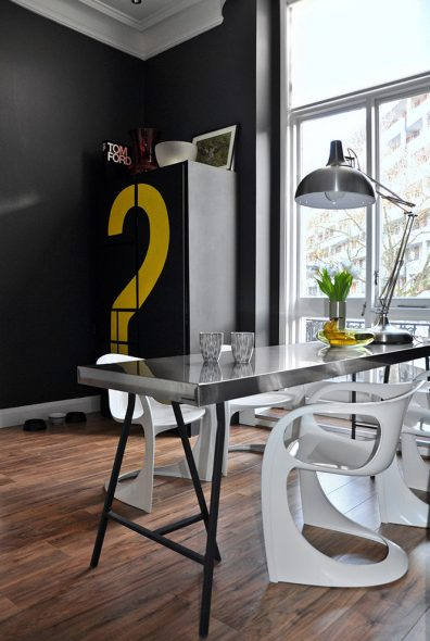 Контрастные цвета на кухне