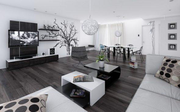 Красивое и стильное оформление гостиной