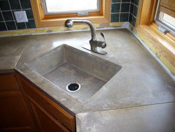 Обустройство кухни с помощью бетона