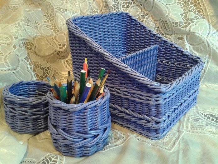 подставка для карандашей плетеная