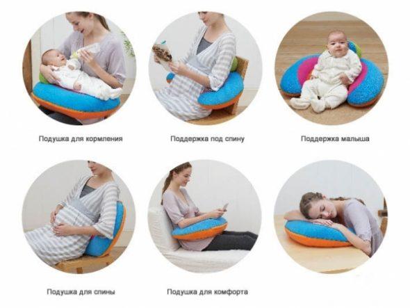 Использование подушки для кормления