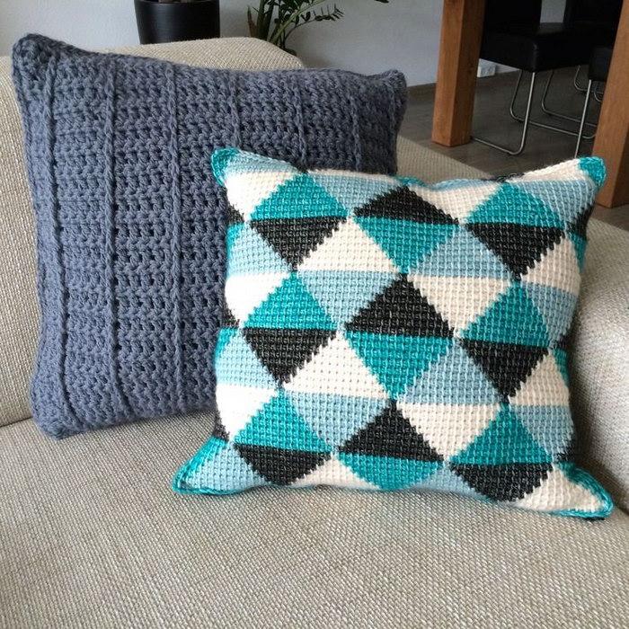подушка вязаная фото декор