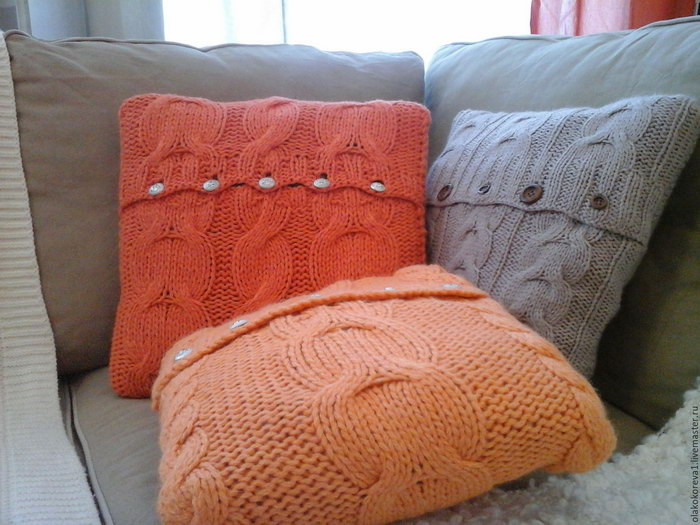 подушка вязаная