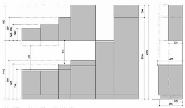 Пример размеров стандартных шкафчиков