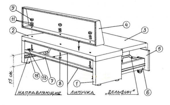 разборка углового дивана механизму дельфин