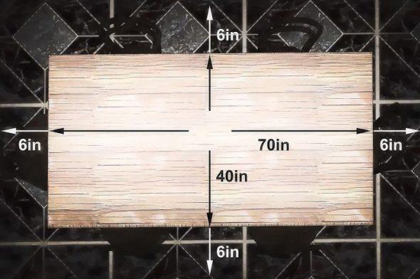 Прямоугольный стол с размерами