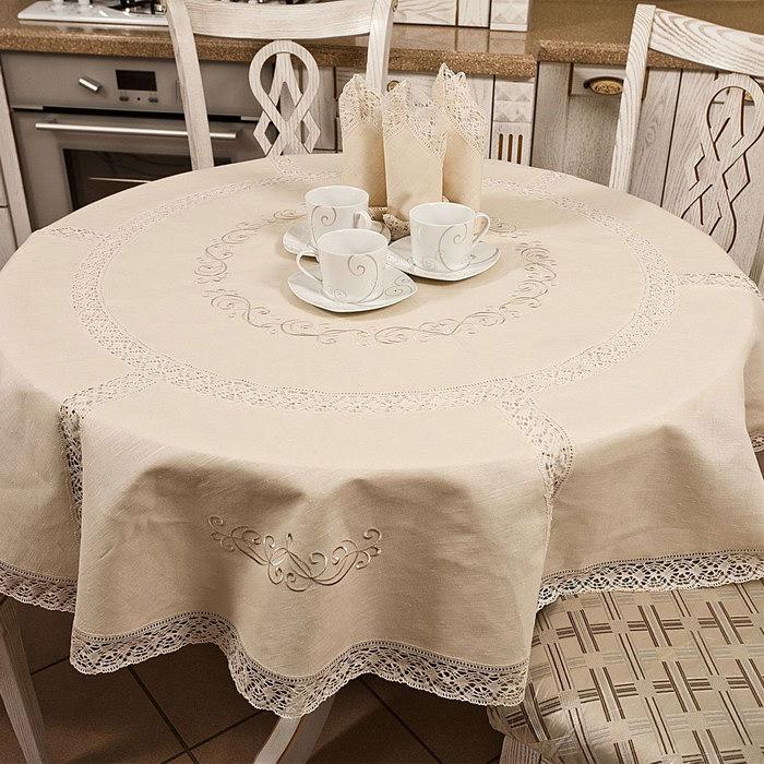 скатерть из льна на круглый стол