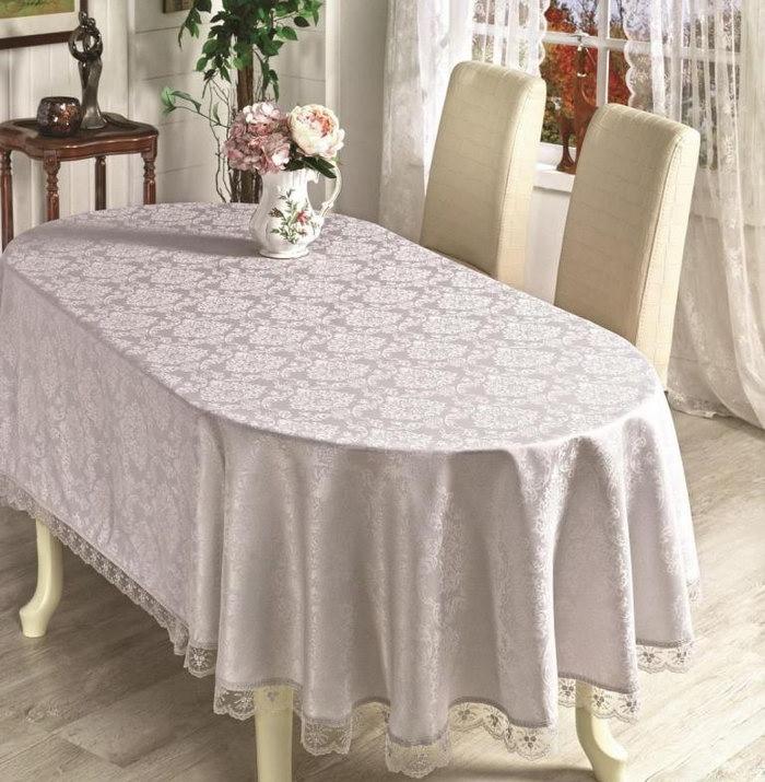 скатерть на овальный стол варианты декора
