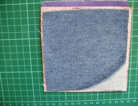 Складываем 4 слоя ткани