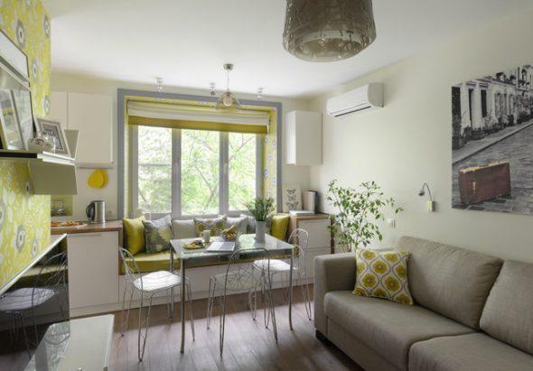 Современная гостиная, совмещенная с кухней